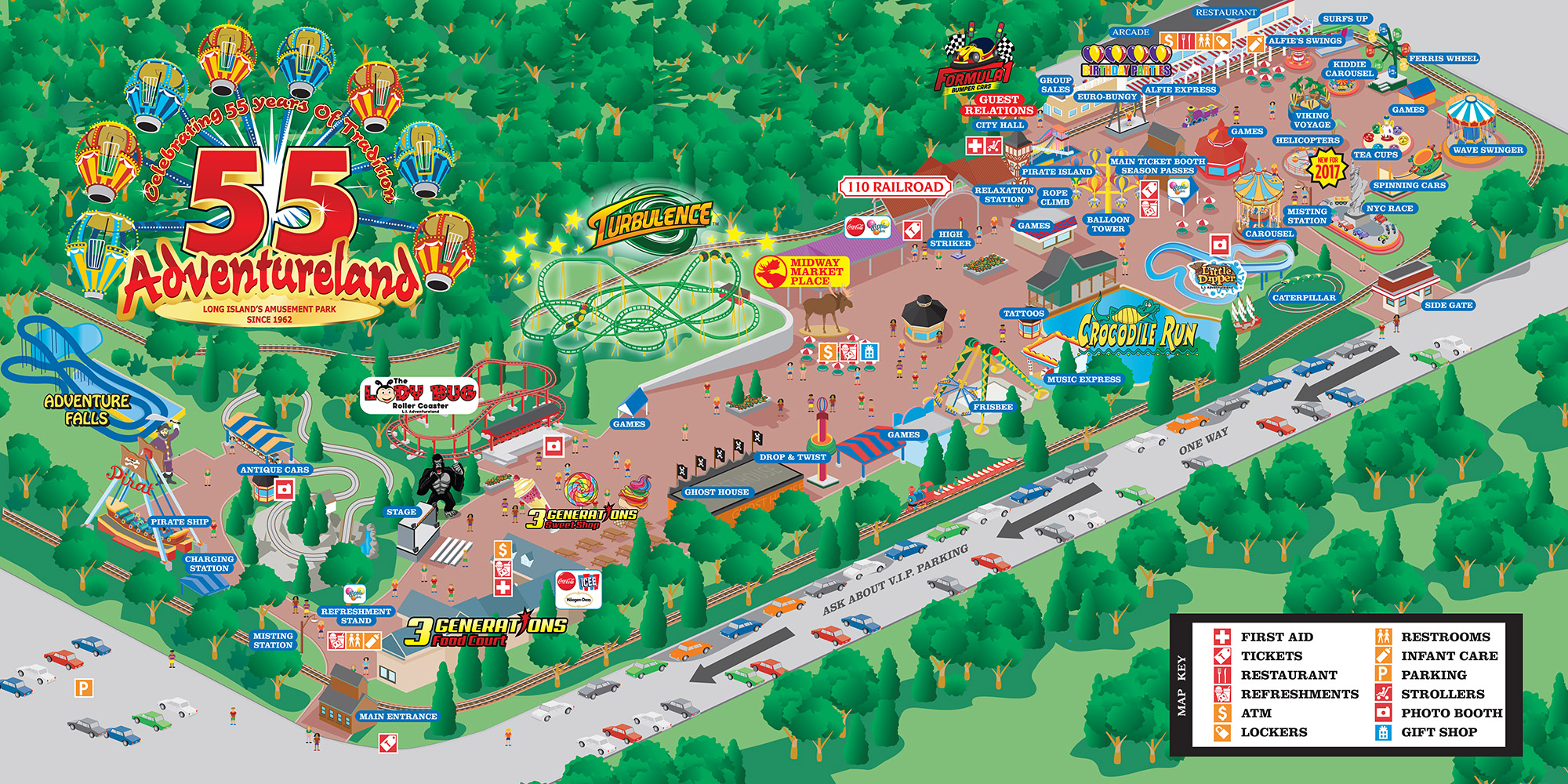 Adventureland Amusement Park Attractions Map Adventureland