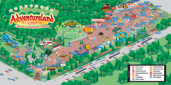 Adventureland Park Map. Click to open a larger map. You can also download it via the button bellow.