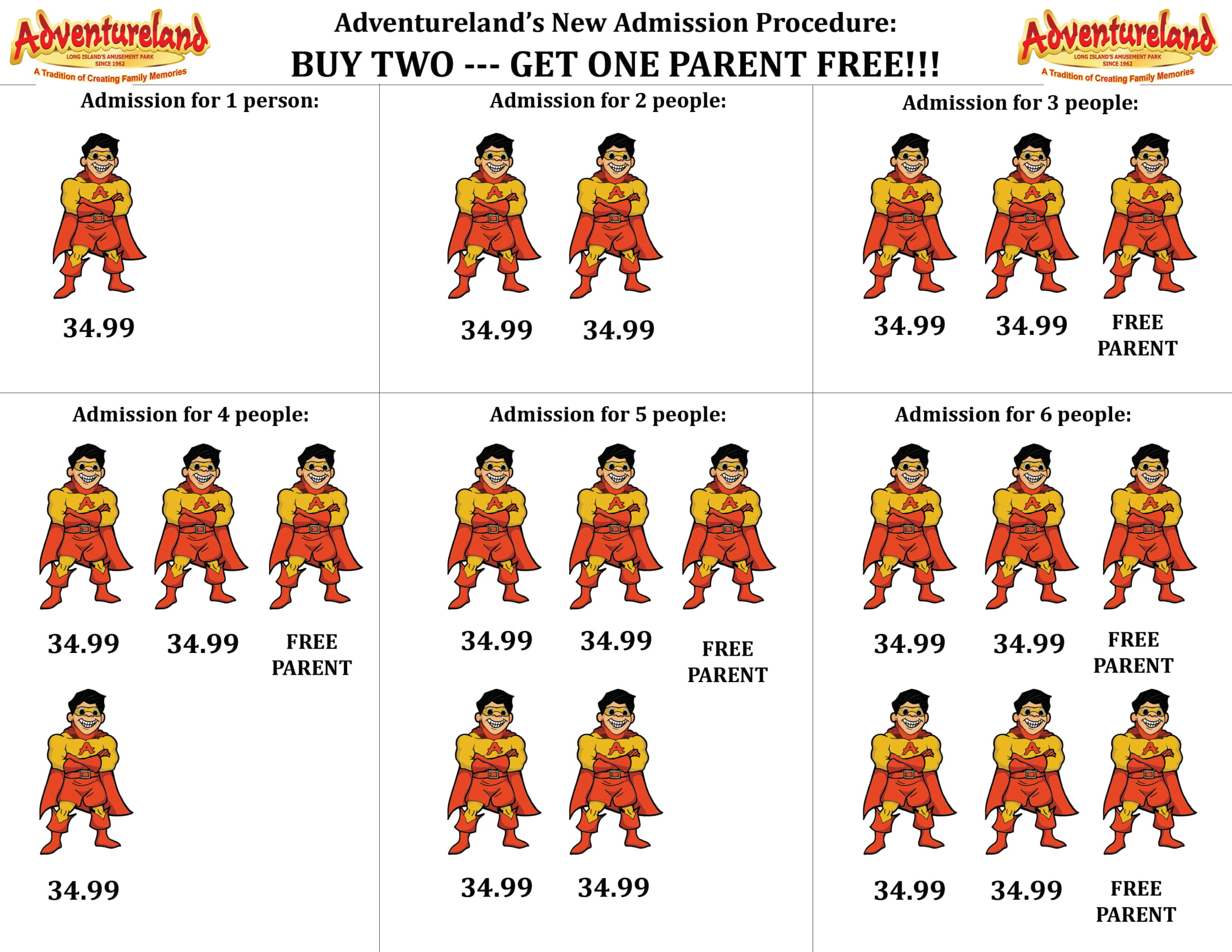 Adventureland's New Admission Procedure - Buy two get one parent free!!!