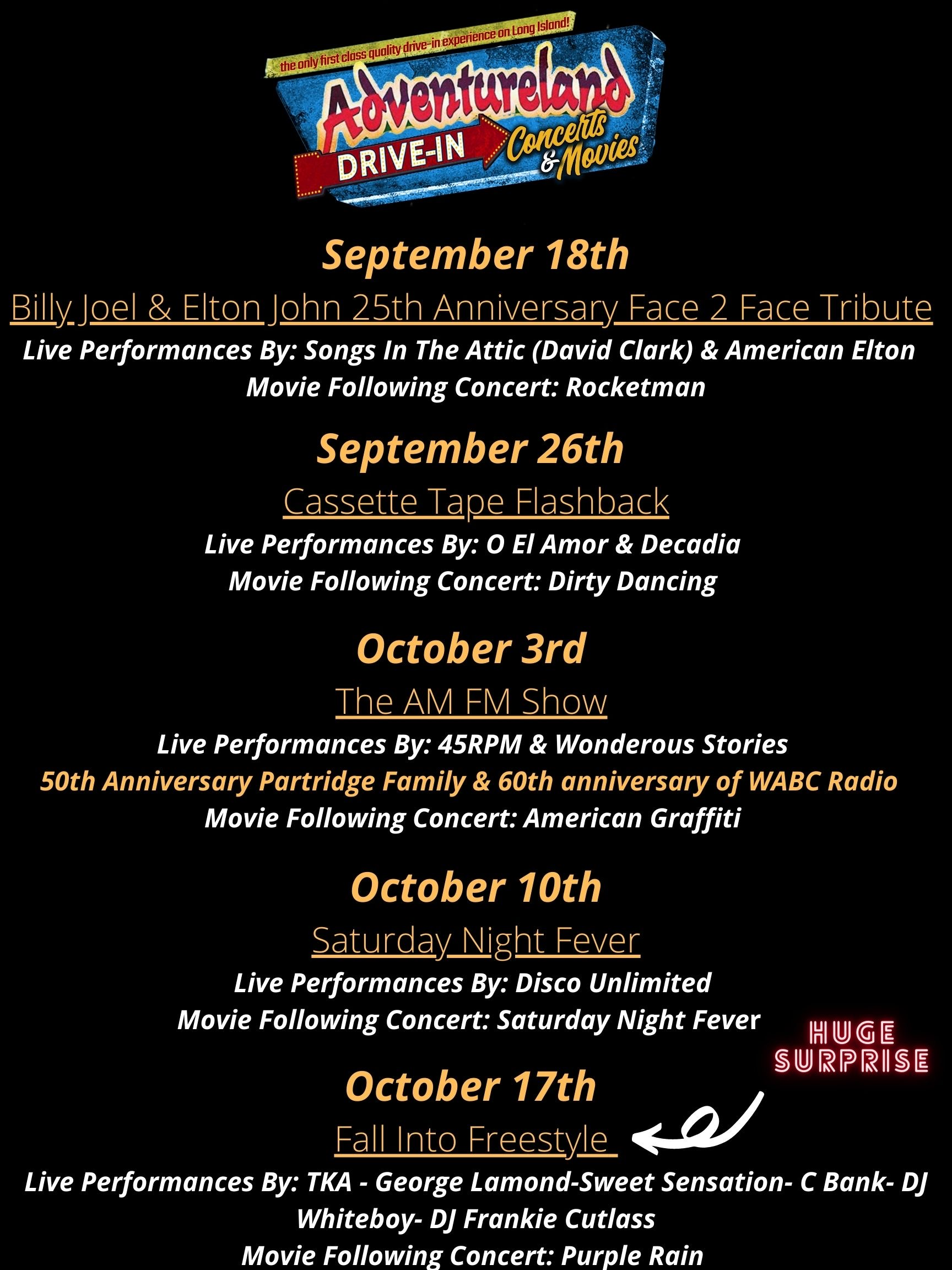 Adventureland Drive In Concerts & Movies